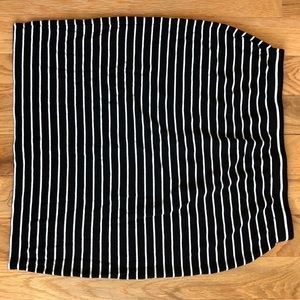 Black and White Striped Cotton Skirt